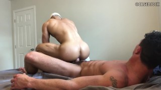 HOT SEX BY TWO MUSCLE JOCKS: CADE MADDOX AND CAGED JOCK